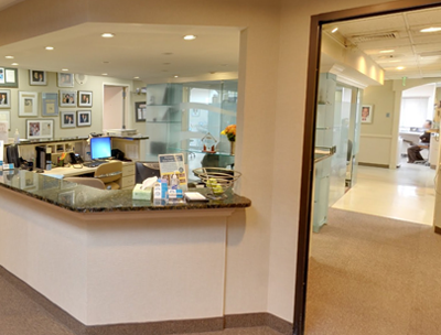 Dental Care of Stamford reception area.
